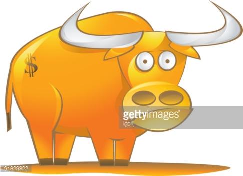 Golden Bull Stock Illustration.
