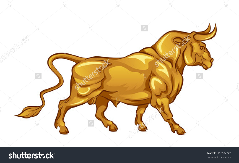 Golden Bull Stock Vector 118104742.