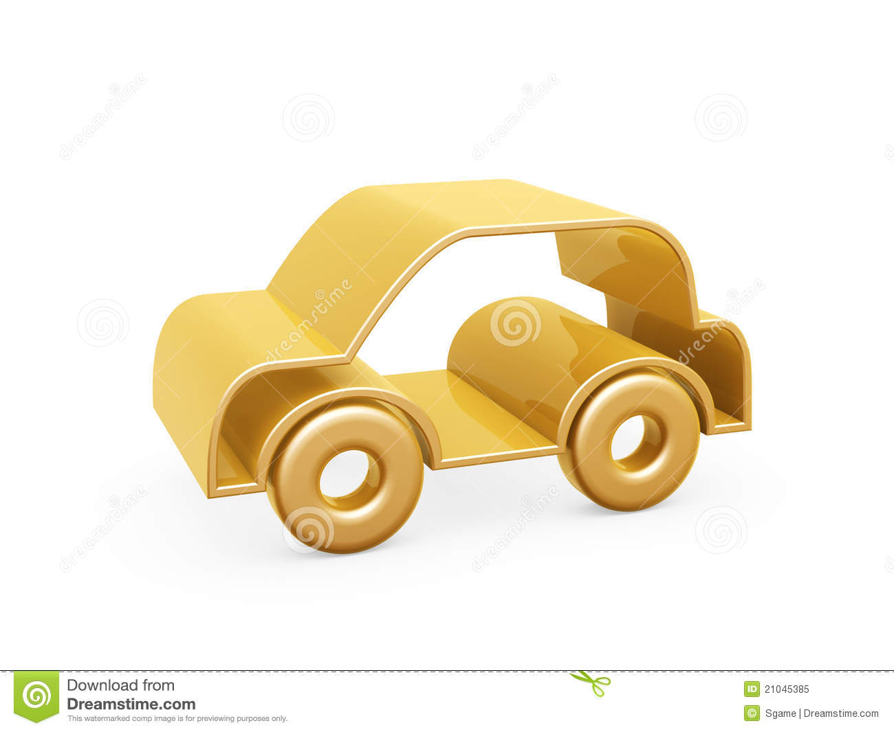 Golden Car Symbol Royalty Free Stock Photo.