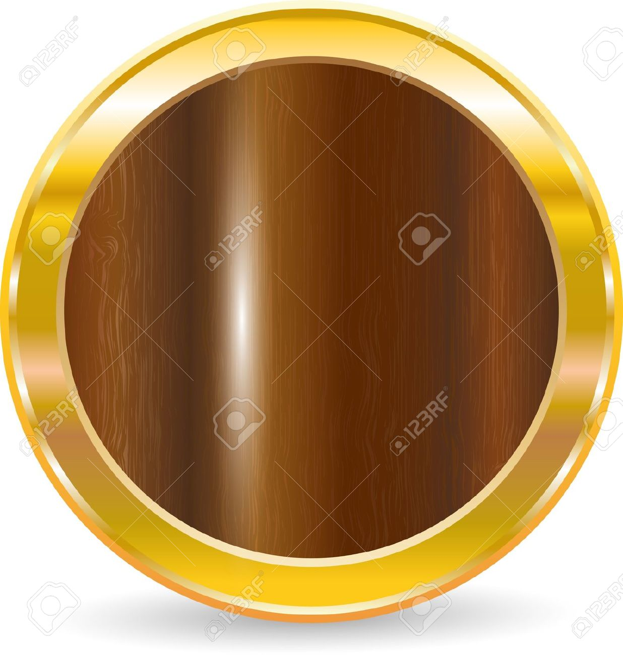 Gold Circle Frame With Wood Texture, Vector Illustration Royalty.