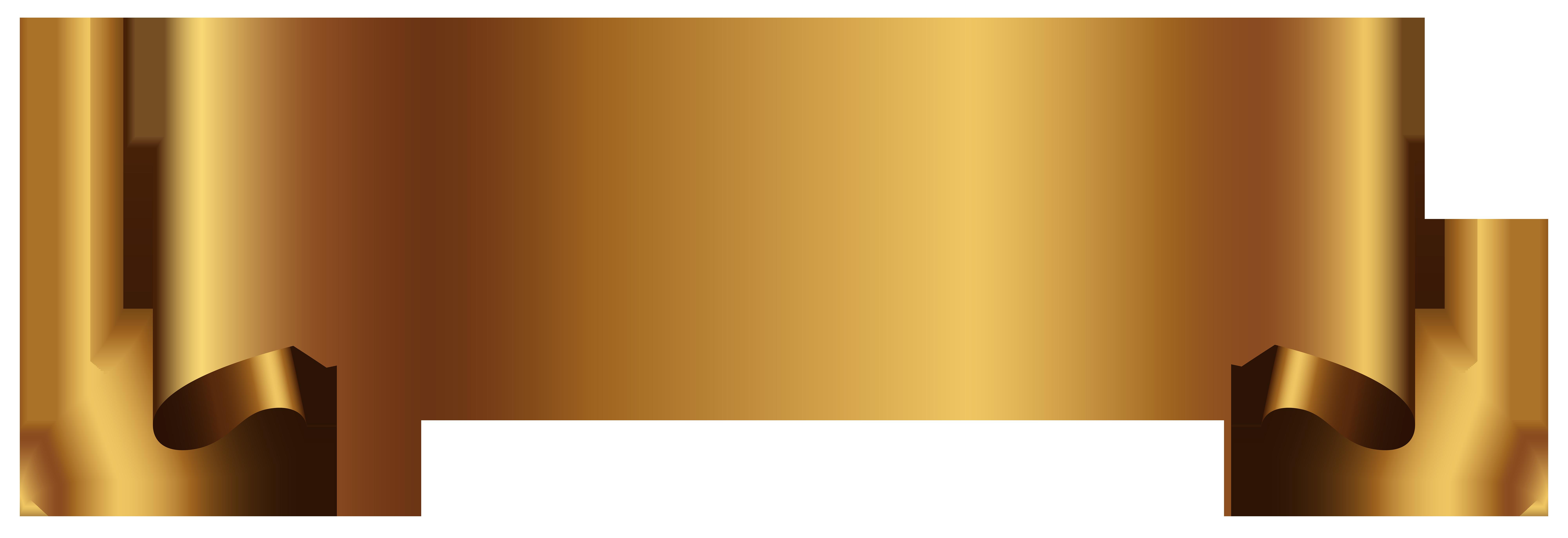 Golden Banner Transparent PNG Clip Art Image.