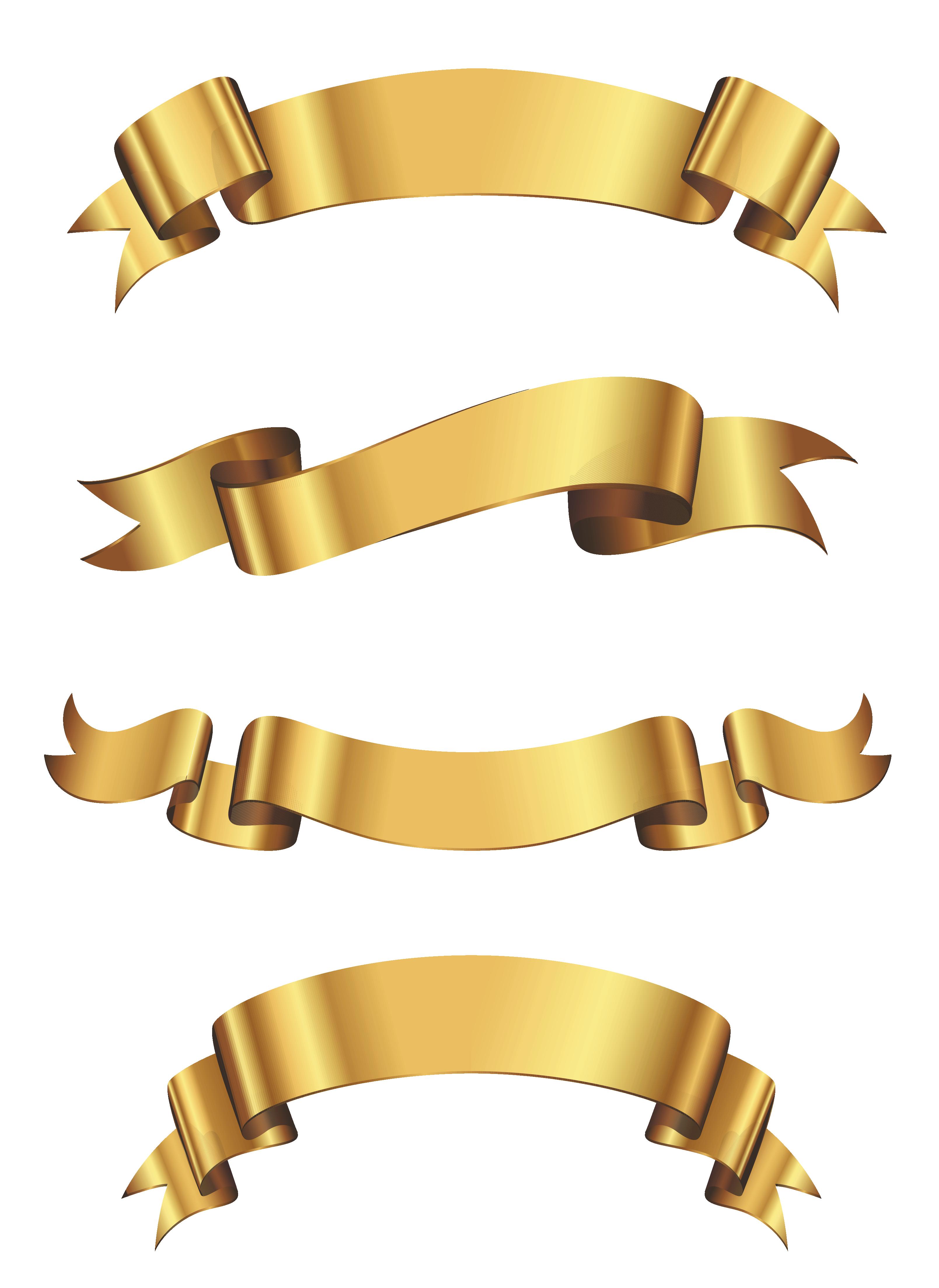 Golden Banner Set PNG Clipart.