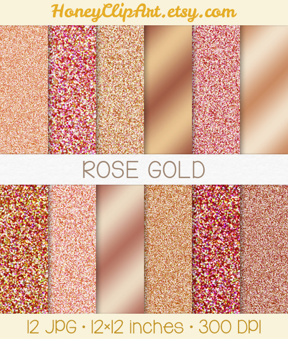 Rose Gold Digital Paper, Metallic Rose Gold Glitter Background.
