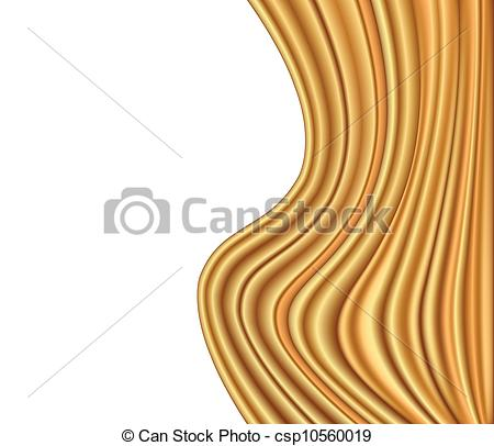 Vector Clip Art of Abstract gold background luxury cloth wave.