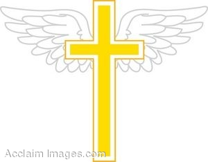 Golden Cross With Wings Clip Art.