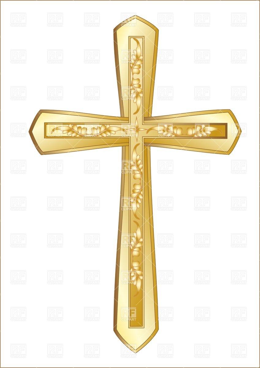 Baptism cross clip art gold.