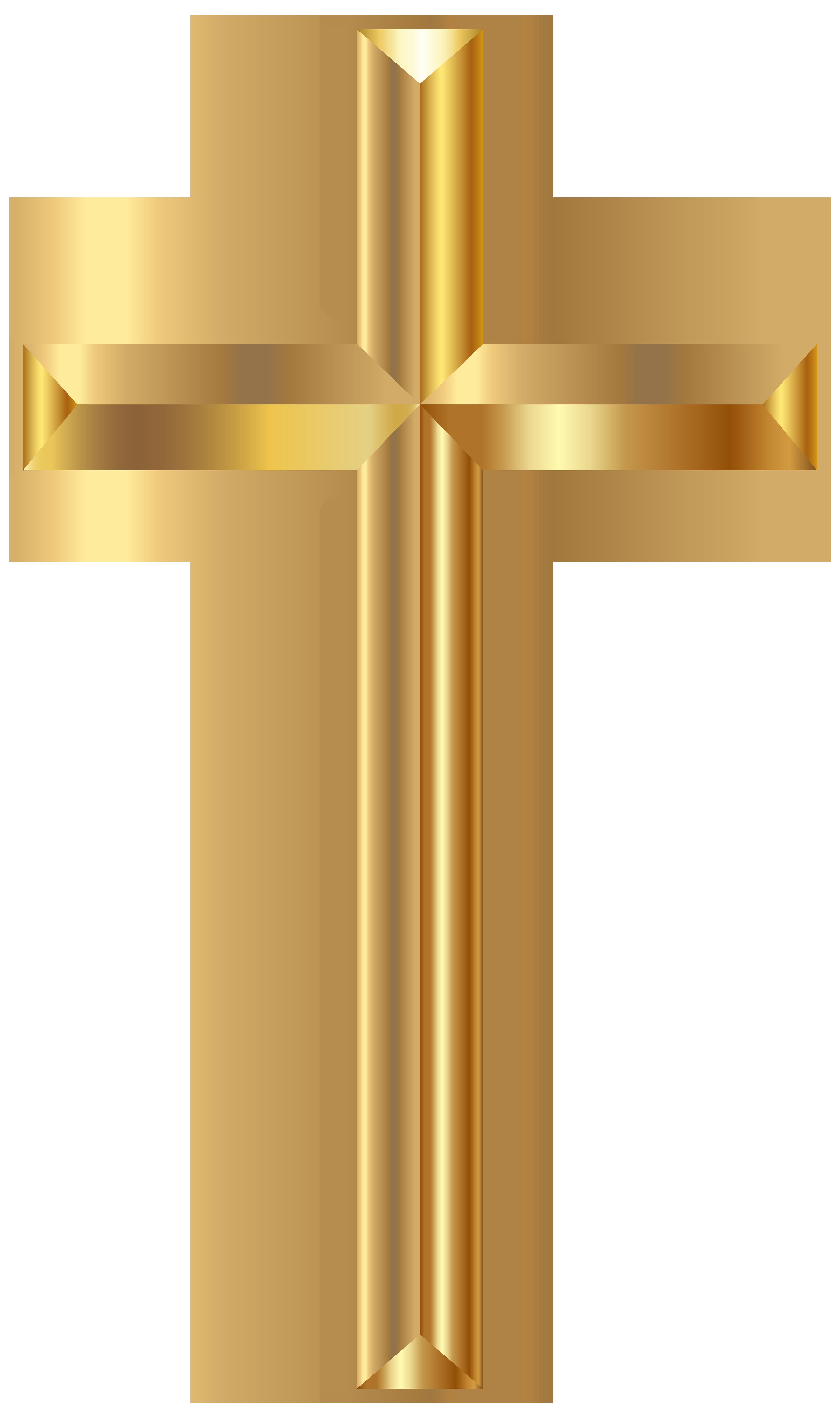 Gold Cross PNG Transparent Clip Art Image.