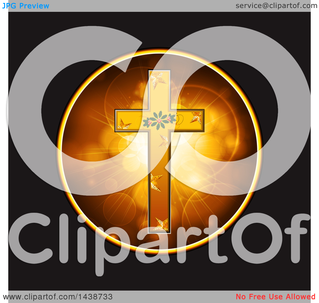 Clipart of a Festive Gold Cross with Christmas Holly and Stars in.