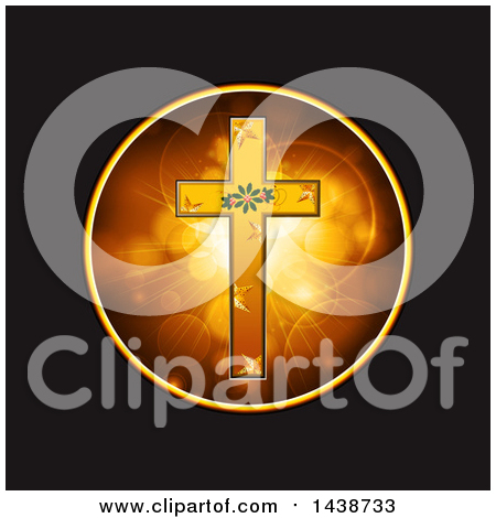 Clipart of a Gold Cross with a Ring over a Red Drape Panel on.