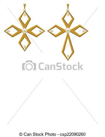 Clip Art Vector of Pearl Gold Cross Jewellery Necklace Vector Art.