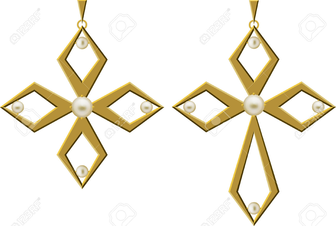 Pearl Gold Cross Jewellery Necklace Vector Art Royalty Free.