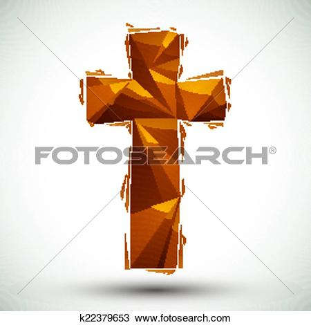 Clipart of Golden cross geometric icon made in 3d modern style.