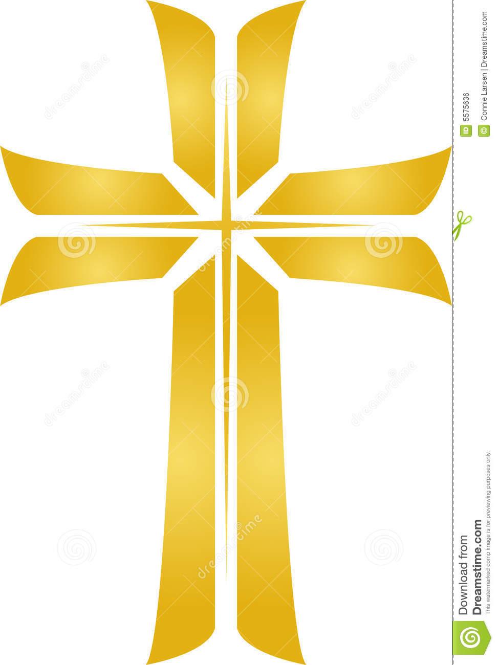Golden Star Cross/eps Royalty Free Stock Image.