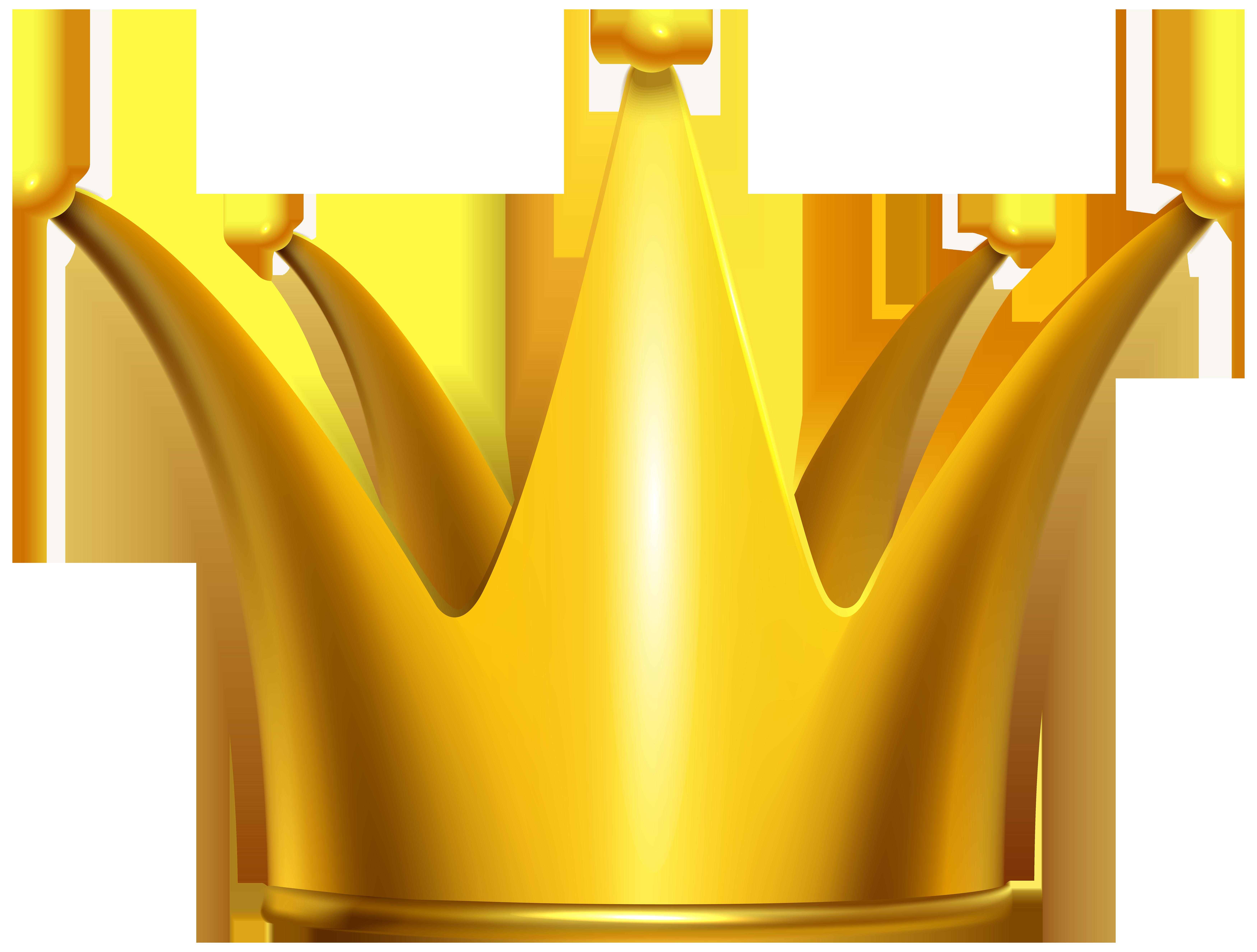 Golden Crown Clip Art PNG Image.