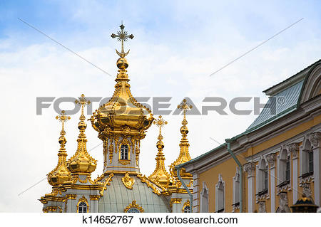Picture of Golden cupola in Summer Gardens, Peterhof, Russia.