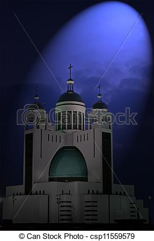 Picture of magic light over orthodox church with few golden cupola.
