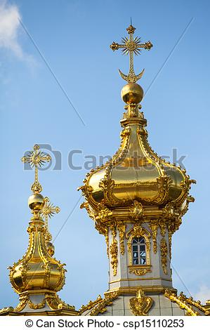 Stock Images of Closeup of golden cupola in Summer Gardens.