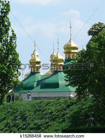 Pictures of Golden Church cupolas of Kyjevo.