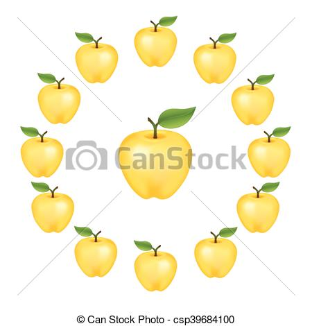 Vector Clipart of Apple Wheel, Golden Delicious.