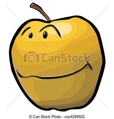 Clip Art of yellow apple.