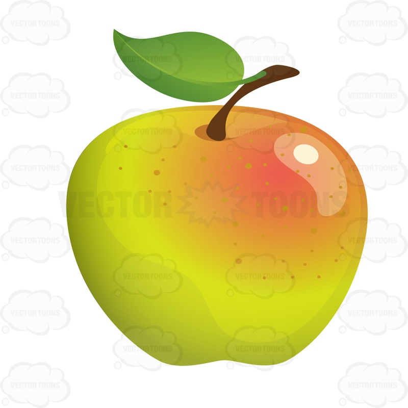 Golden Delicious Apple Cartoon Clipart.