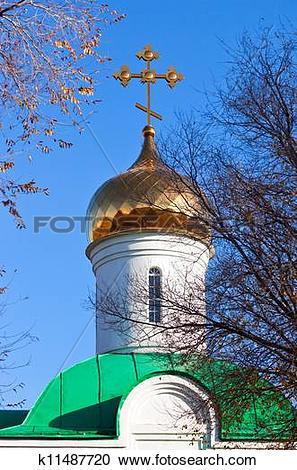 Stock Photography of Golden dome and cross of the Russian Orthodox.
