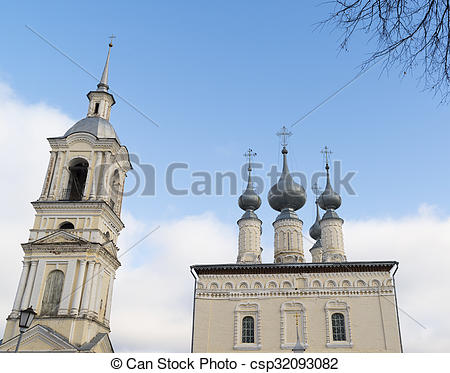 Pictures of Smolenskaya church with bell tower in Suzdal. Golden.