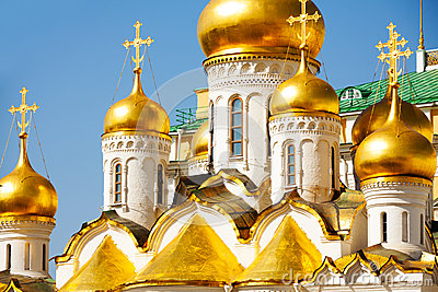 Church Golden Domes In Moscow Kremlin. Royalty Free Stock Images.