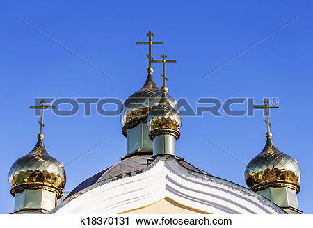 Stock Photography of Golden domes and crosses Christian Orthodox.