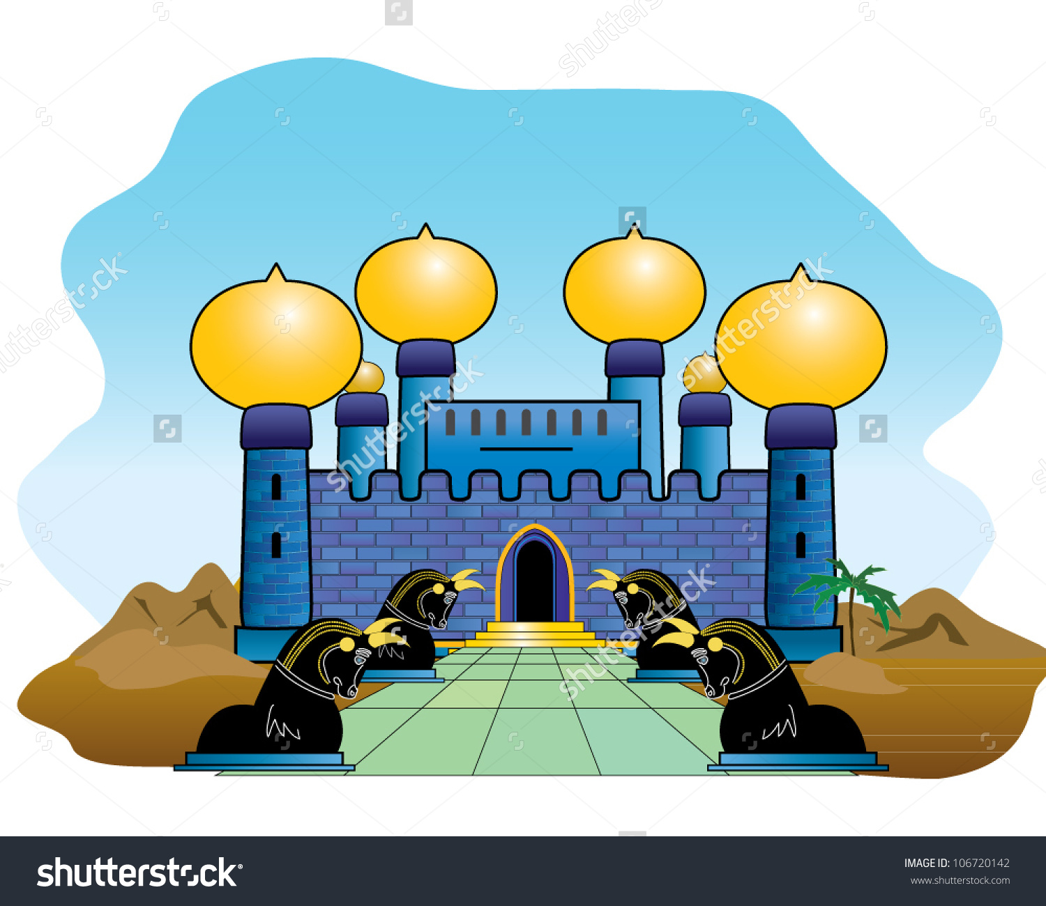 Pathway Lined Persian Bulls Ancient Arabian Stock Vector 106720142.