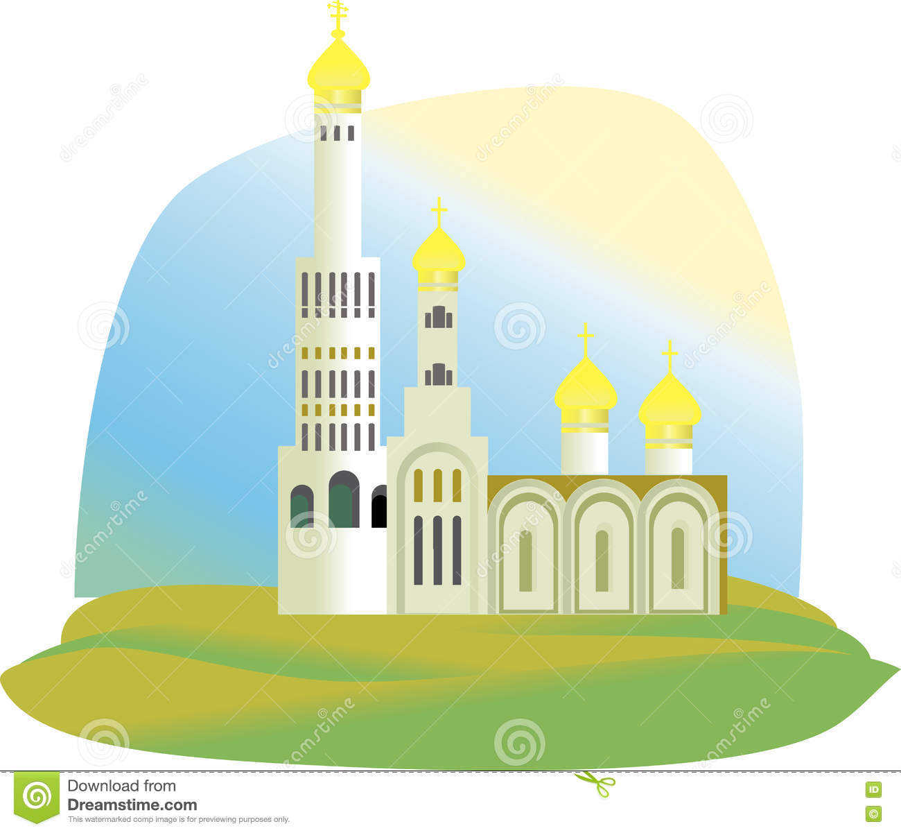 The Cathedral, The Church With Golden Domes Stock Vector.