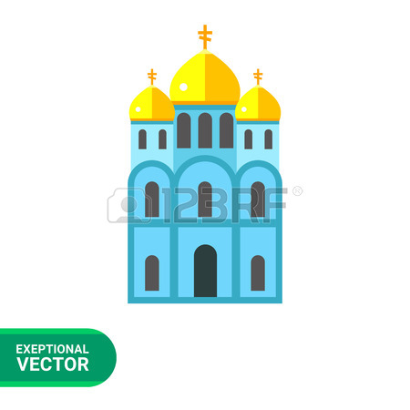 Icon Of Blue Orthodox Church With Three Golden Domes Royalty Free.