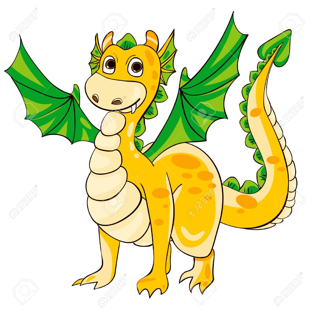 Golden Dragon With Green Wings. Vector Illustration Royalty Free.