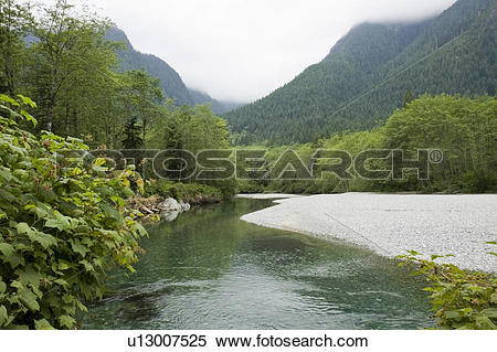 Stock Image of Creek and mountains in Golden Ears Provincial Park.