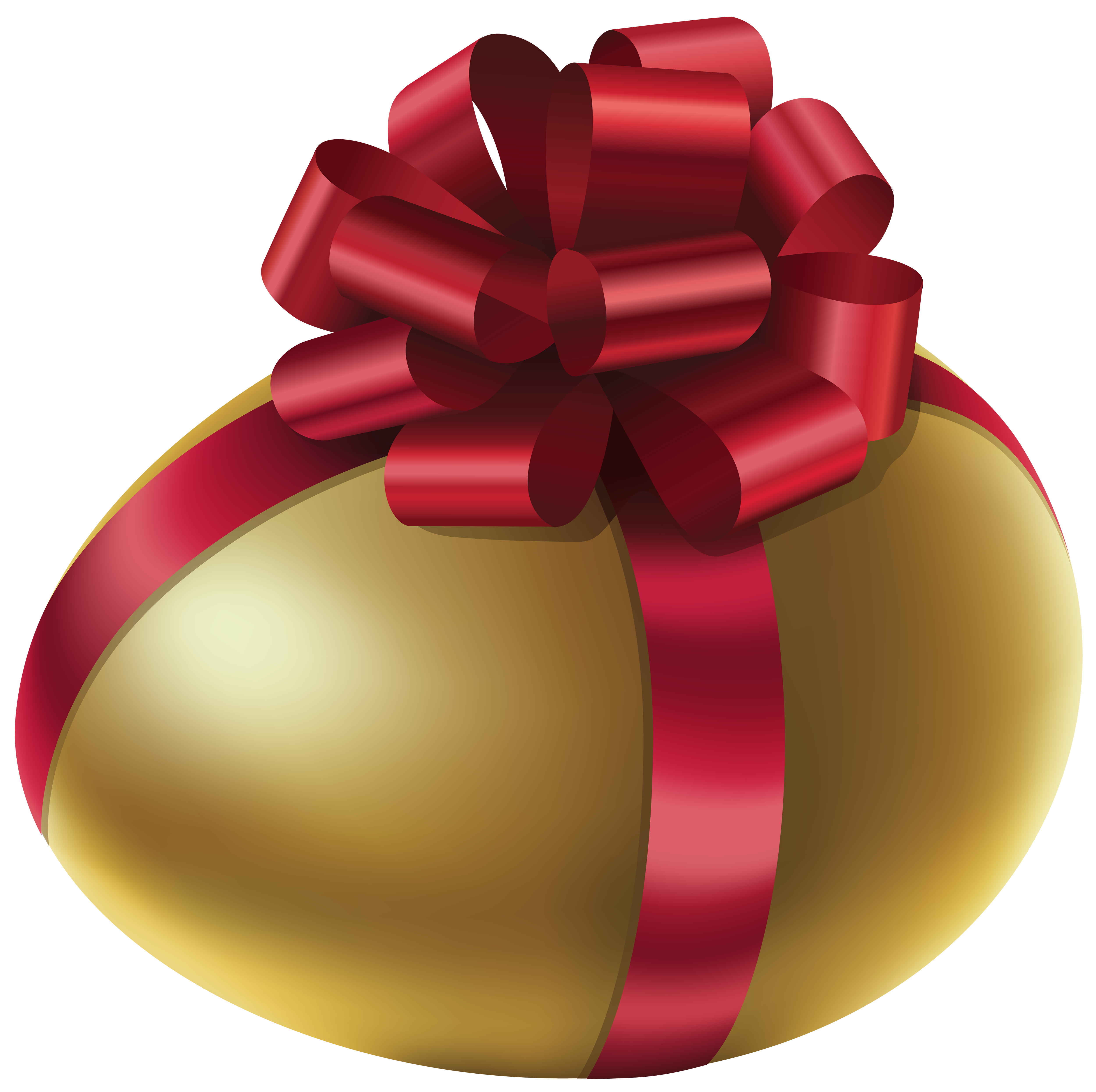 Easter Golden Egg with Red Bow PNG Clip Art Image.