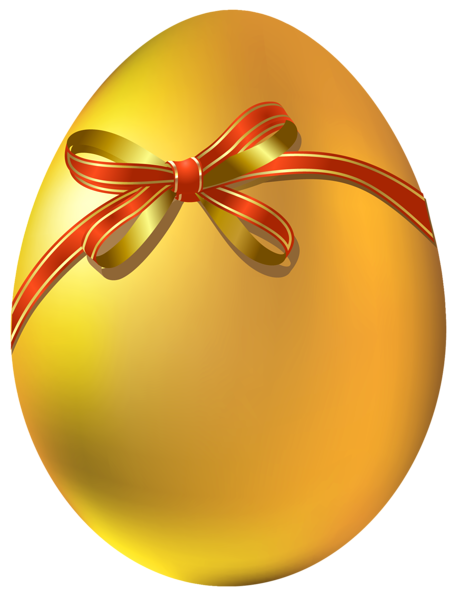 Gold Easter Egg with Red Bow PNG Clipart.