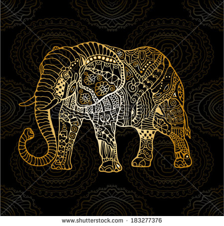 Gold elephant clipart.