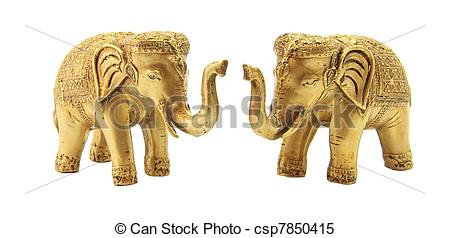 Stock Images of Golden Elephant Couples csp7850415.