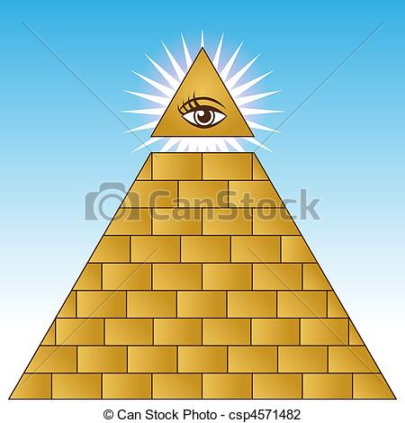 Clip Art of Golden Eye Financial Pyramid.