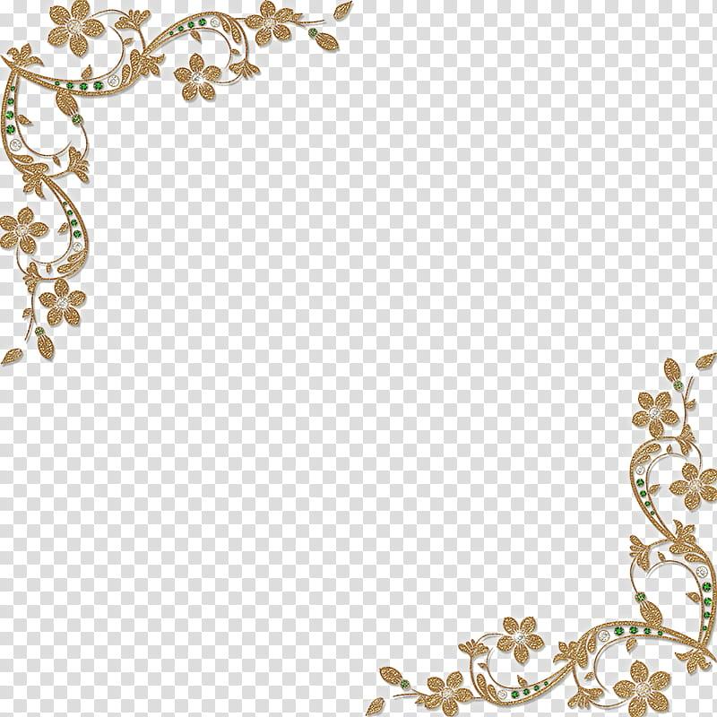 Golden Floral Corners Frame , brown flowers illustration.