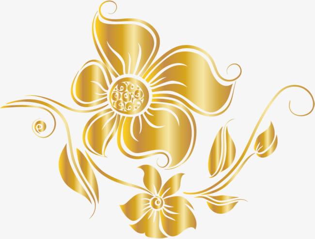 Luxury golden flower PNG clipart.