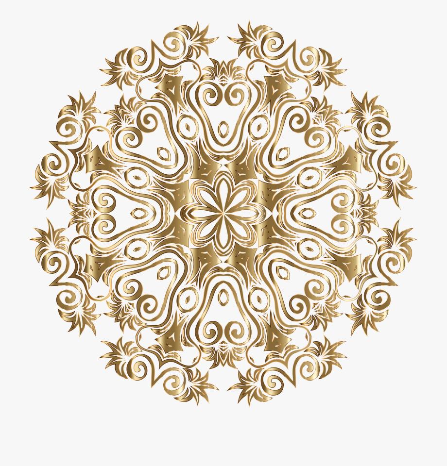 Gold Floral Flourish Motif Design No Background Icons.