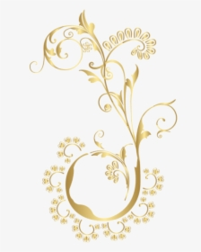 Floral Gold Element Clip Transparent Background.