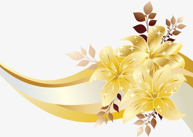 Golden Flower Effect, Flower Vector, Effect, Vector PNG and.