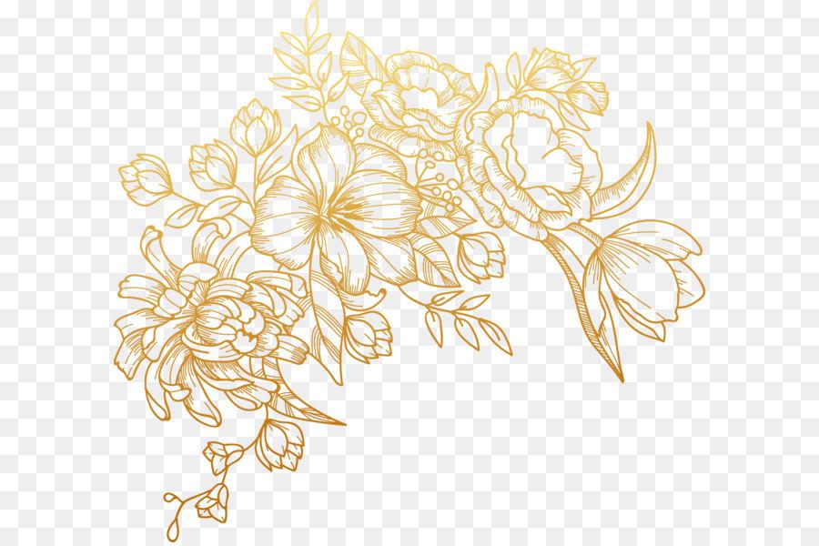 golden flower vector clipart #1