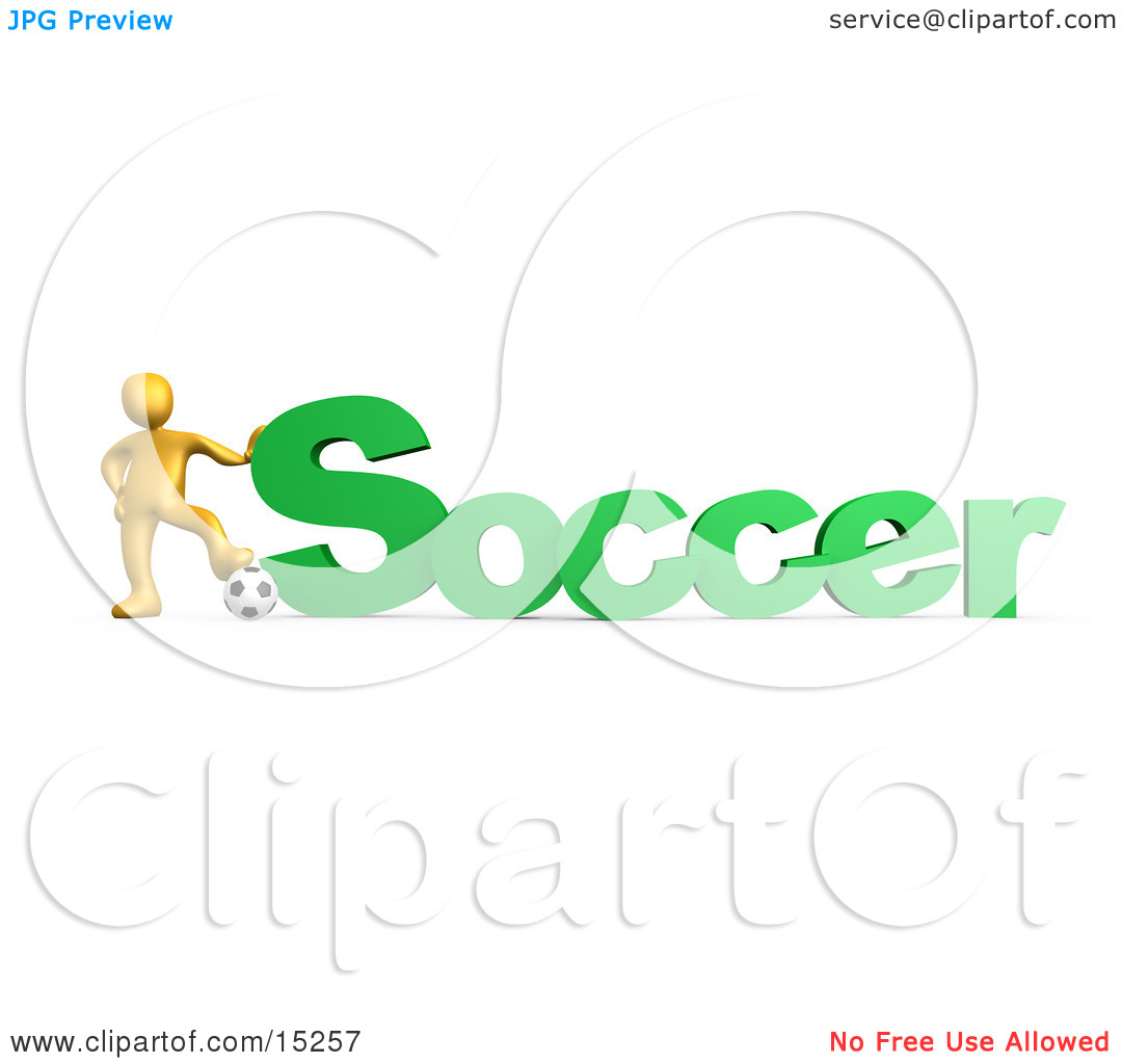 Golden Soccer Players Resting One Foot On A Soccer Ball And.