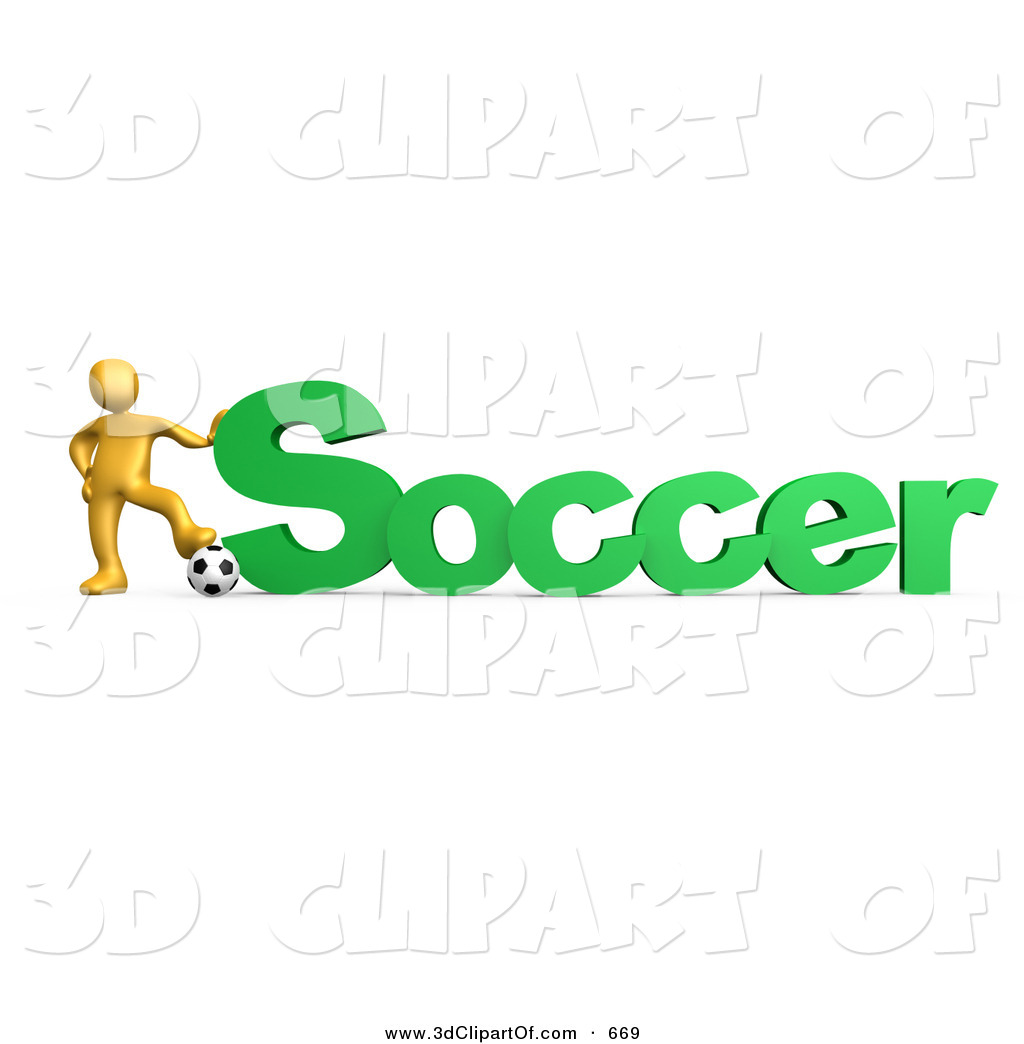 3d Clip Art of a Golden Soccer Player Resting One Foot on a Soccer.
