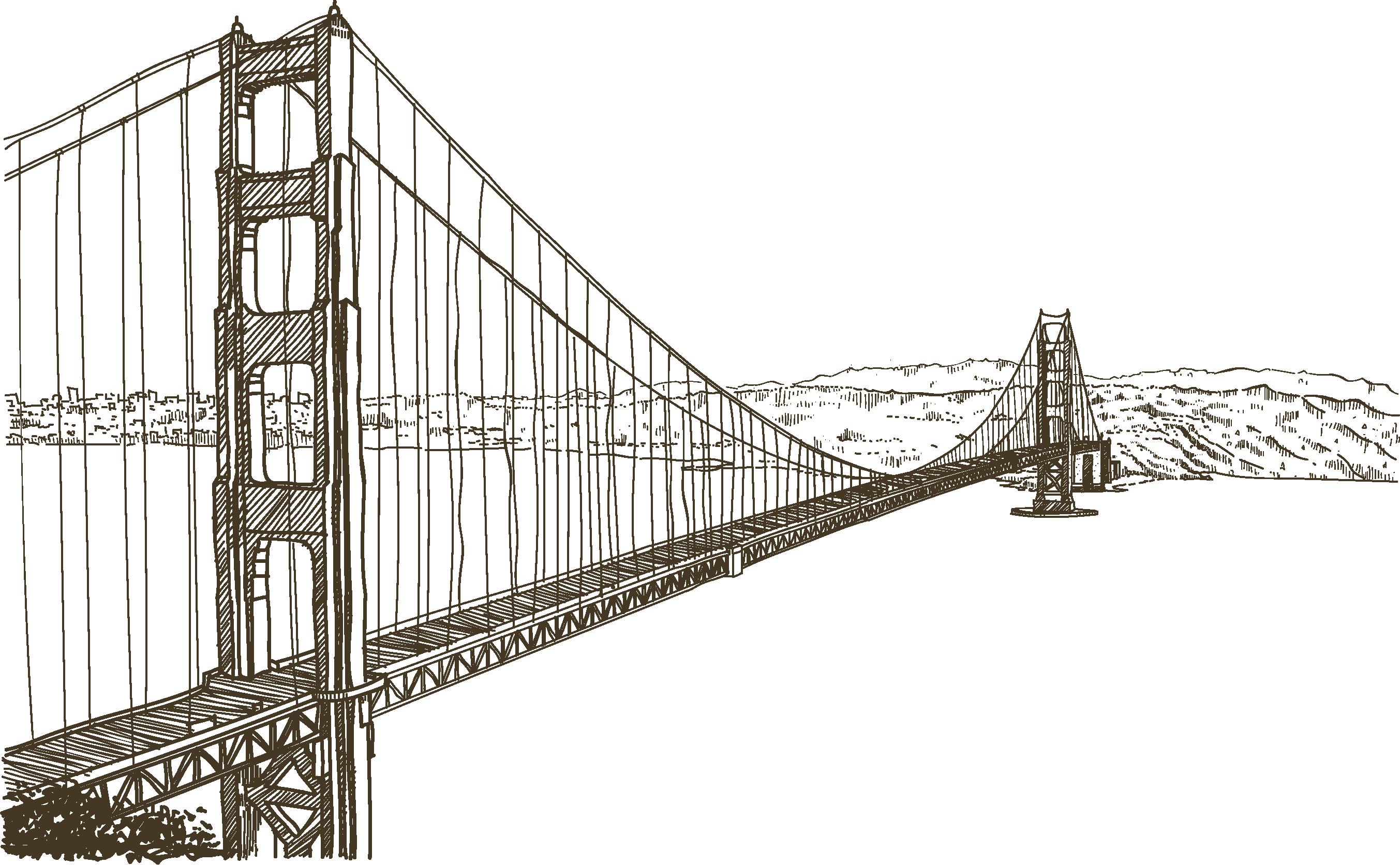 Golden Gate Bridge Statue of Liberty Drawing.
