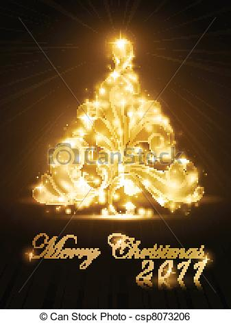 Clip Art Vector of Christmas tree 2011 card with golden glow and.