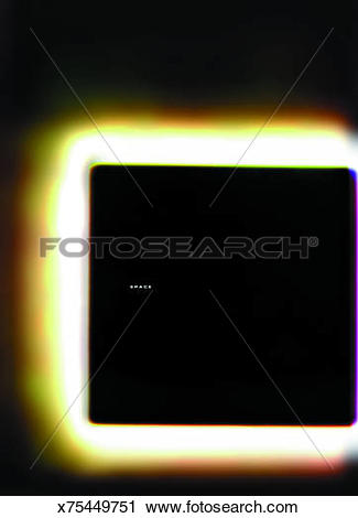 Clipart of Black square with space text surrounded by golden glow.